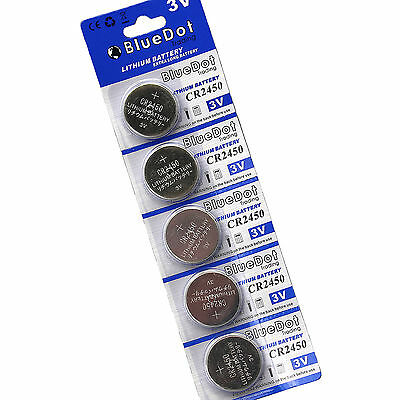 SHIPS FROM CA!  5Pcs 3V CR-2450 Lithium Button Cell Coin High Energy Batteries