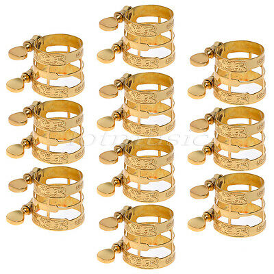 10pcs Gold Plated Carving Saxophone Ligature for Alto Sax and Clarinet Parts