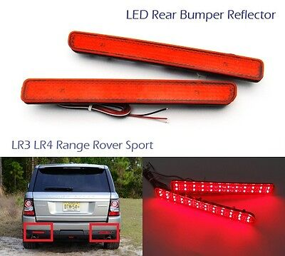 2 Land Rover Bumper Reflector LED Light Red Tail Stop Brake Rear Range Discovery