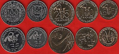 Western Africa set of 5 coins: 5 - 100 francs 2011-2012 UNC