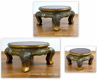 Small Round Asian Opium Table Glass Mosaic Look Coffee Table Handmade Thailand