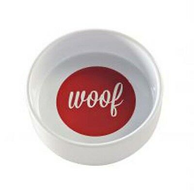 Mason Cash White/Red Woof Dog Bowl 15x5cm