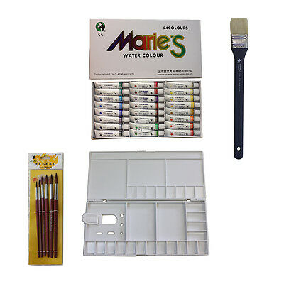 Marie's  Water Color Painting Set(24 Colors+7 Brushes+1 Mixing box)