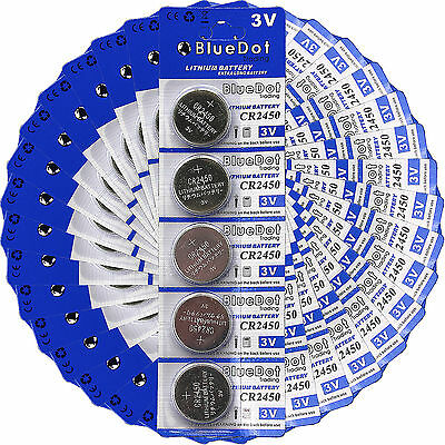 New 100 Pcs CR2450 CR 2450 DL2450 3V Lithium Cell Coin Battery SHIPS FROM USA