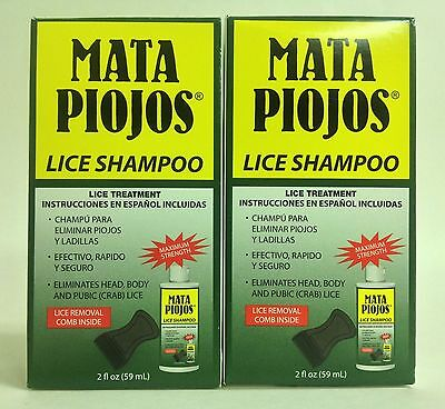 2 SHAMPOOS MATA PIOJOS 2 oz C/U - EFFECTIVE LICE TREATMENT SHAMPOOS