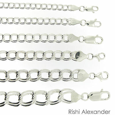 925 Sterling Silver Double Link Parallelo Charm Bracelet and Anklet All Sizes