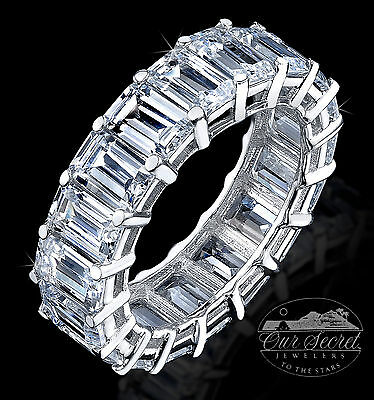 8  ct Emerald Cut Eternity Ring Top CZ Imitation Moissanite Simulant SS Size 7