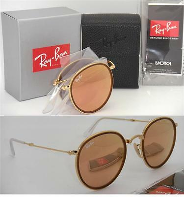 405d5324b73 Folding Round Ray-Ban RB 3517 001 Z2 51mm Gold Frame Pink Mirror Lenses