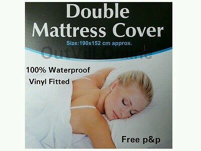 Double Mattress Cover Waterproof Fitted Protector Sheet VINYL Bed Wetting White