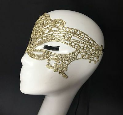 Gold Lace Soft Ribbon Tie Sexy Italy Venetian Mask Masquerade Costume Halloween
