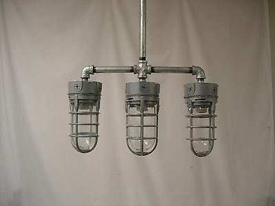 Industrial ceiling lamp explosion proof cage mid century modern light pendant 3