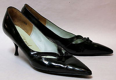 VINTAGE RETRO BLACK PATENT LEATHER POINTY TOED STILETTO SHOES 1950s SIZE 10