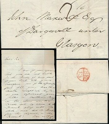 SCOTLAND 1779 BISHOP MARK SMALL CIRCLE DIVIDED to MAXWELL GLASGOW