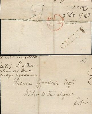 Scotland 1798 Crieff Single Line Namestamp + Bishop Mark