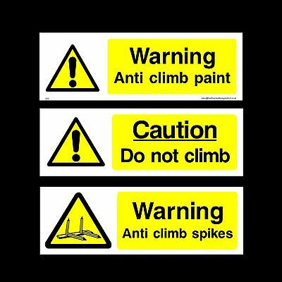Anti Climb Paint / Spikes / Climb Plastic Sign, Sticker - All Materials & Sizes