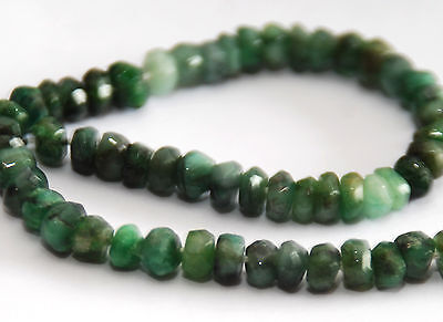 Half Strand Deep Green Textured Emerald Faceted Rondelle Beads, 4.5 Mm, Gemstone