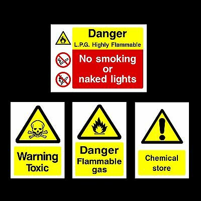 Flammable / Toxic / Chemical / LPG Plastic Sign, Sticker - All Materials & Sizes