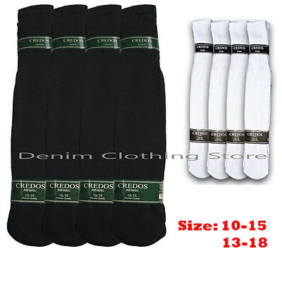 4 8 12 Pairs Athletic Thick socks Calf / Knee High Men's Tube Socks White Black