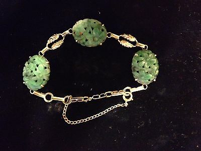Antique/Vintage 14 K Gold Carved And Pierced Jade Bracelet!