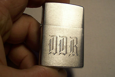 Used 2000 Silver Color Zippo Lighter  With D.d.r. Engraved On It