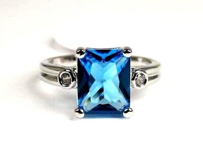 R#6038 simulated Sea Blue Topaz gemstone ladies silver ring size 6