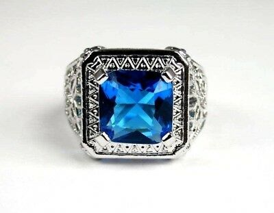 R#6034 simulated Sea Blue & White Topaz gemstone ladies silver ring size 7.25