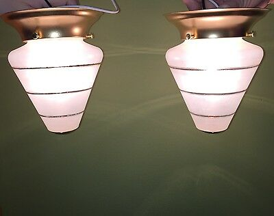 2 Beautiful Unique Flush Mount Bathroom Hallway Fixtures Vintage Antique Wired