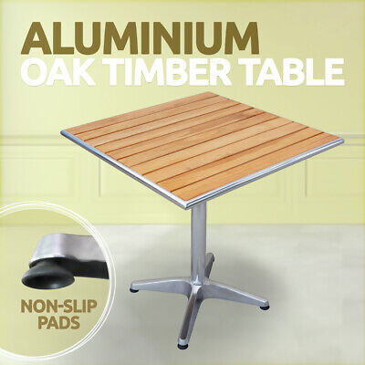 Aluminium Table Timber Top Square Cafe Table Bar Table Wooden Table 70x70x72cm