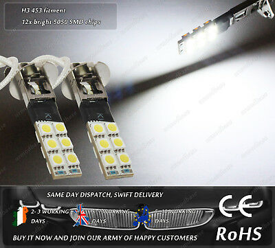 2x LED H3 453 HID 4500k White Strobe Flash Lights Fog Bulbs DRL Lamps 12v DC AC