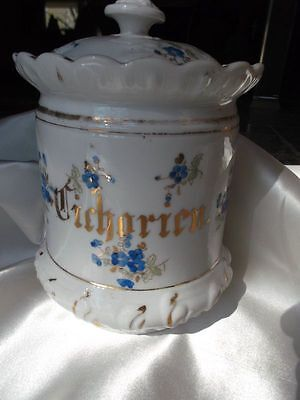 Antique Vintage German Ceramic Hand Painted Covered Biscuit Jar Vase Lid