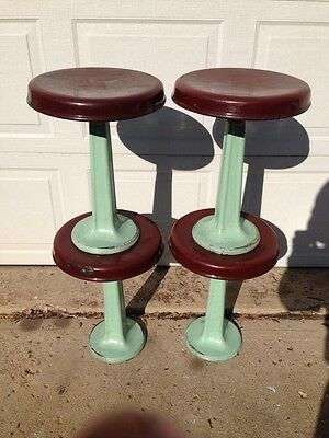 4 Vintage Ice Cream Parlor Swivel Stools Cast Iron Porcelain Paint Teal And Red