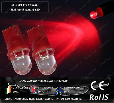 2x T10 W5W 501 168 LED Red Round Concave Wedge Interior Parking Bulbs Lamps 12v