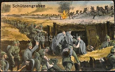 German Army Soldiers Trench Battle Scene World War 1 6x4 Inch Reprint Print  R