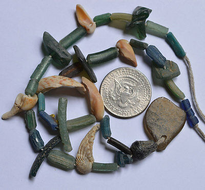 Ancient Roman Glass Fragment Beads 1 Medium Strand Shell 100-200 Bc 0143