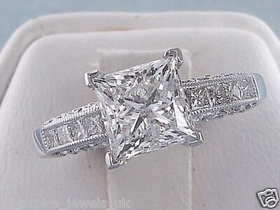 2.48Ct Princess Cut Comfort Fit Solitaire Engagement Ring 14Ct White Gold
