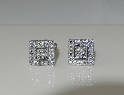 8mm Square created Diamond Stud Earrings White Gold Plated Men's or Women's