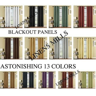 "Pair of 2 Top Grommet Thermal insulated Blackout Window Curtain set 2 (42""X96"")"