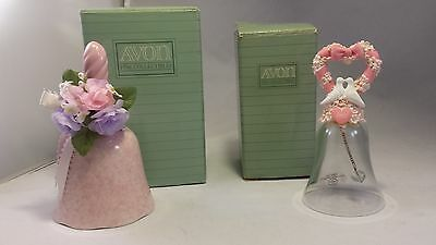 2 AVON DINNER BELLS 1991 Spring Chimes Porcelain 1992 HEARTS AND FLOWERS CRYSTAL