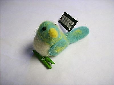 Blue Wool Bird Clip-on featuring a Clothespin Clip