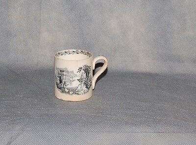 Antique English Creamware Black Transferware Child's Mug Elaborate Landscape