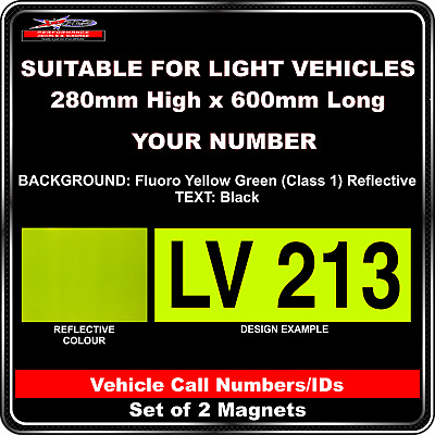 Hi Vis Light Vehicle Call Number/ID Class 1 (Fluoro YellowGreen/Black) - 2Magnet