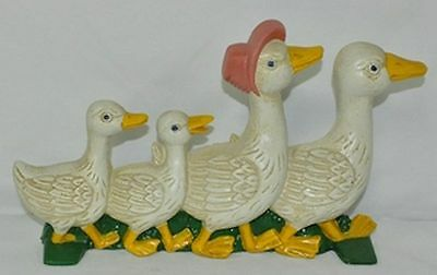 Duck Family Doorstop Cast Iron Cabin Lodge Man Cave Home Garage Shop Barn Decor
