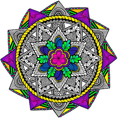 22x22 Inch Wall Posters Mandala Coloring Poster 5-Pack II