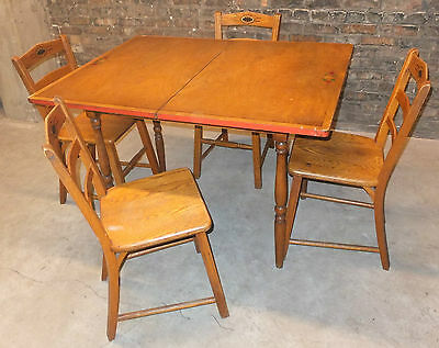 Antique Vintage c1930s Wood Pine Kitchen Table & Chairs Game Table Painted Deco