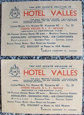 Hotel Valles Mexico Two Business Cards with Money Exchange Table Vintage 1950s