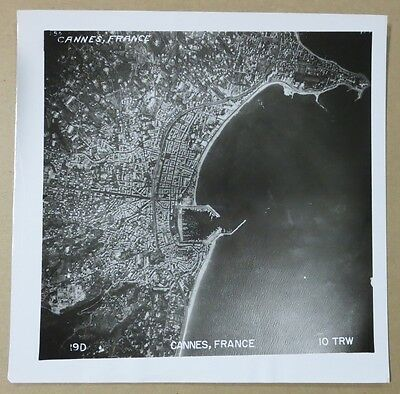 CANNES, FRANCE - ORIGINAL 1950s 10th TRW USAF AIR FORCE AERIAL RECON PHOTO