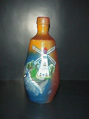 Vintage Stoneware Port Bottle Portugal A. Rangelr Hand Made Painted Windmill