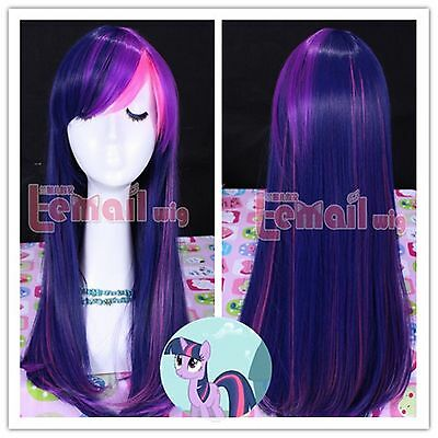 Cute Pony Heat Resistant Twilight Sparkle long straight Cos play Anime Wig+Cup
