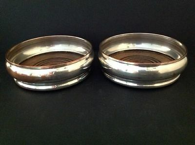 Pair English Silver Plate on Copper Wine Bottle Coasters