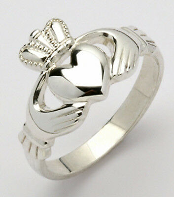 Ladies Genuine Irish Handcrafted Sterling Silver Claddagh Ring sizes 4 to 9